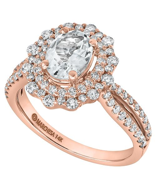 Marchesa Aquamarine (1 ct. t.w.) & Diamond (7/8 ct. t.w.) Statement Ring in 14k Rose Gold & 14k Yellow Gold