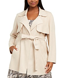 Plus Size Faux-Suede Belted Jacket, Created For Macy's
