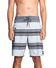 "Mens Uncivil 4-Way Stretch DWR Stripe 20"" Board Shorts"