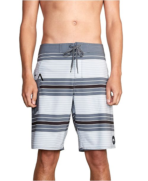 "RVCA Mens Uncivil 4-Way Stretch DWR Stripe 20"" Board Shorts"