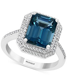 EFFY® London Blue Topaz (3-7/8 ct. t.w.) & Diamond (1/4 ct. t.w.) Ring in 14k White Gold