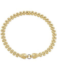 "Diamond Lion Link 18"" Statement Necklace (1/2 ct. t.w.) in 14k Gold over Sterling Silver"