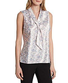 Abstract-Print Tie-Neck Sleeveless Top