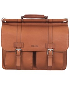 "Colombian Leather Flapover 15"" Laptop Business Portfolio"