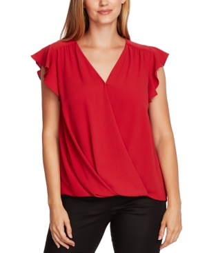Vince Camuto Flutter-sleeve Wrap-front Blouse In Rhubarb