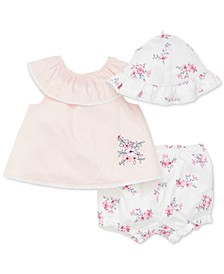 Baby Girls 3-Pc. Cotton Rose Dream Hat, Top & Floral-Print Bloomers Set