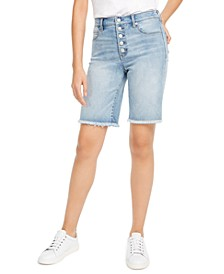 Button-Front Denim Bermuda Shorts