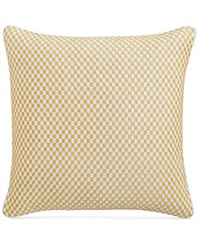 "Embroidered Geometric 210-Thread Count 18"" x 18"" Decorative Pillow, Created for Macy's"