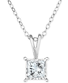 "Diamond Princess 18"" Pendant Necklace (1/2 ct. t.w.) in 14k White, Yellow, or Rose Gold"