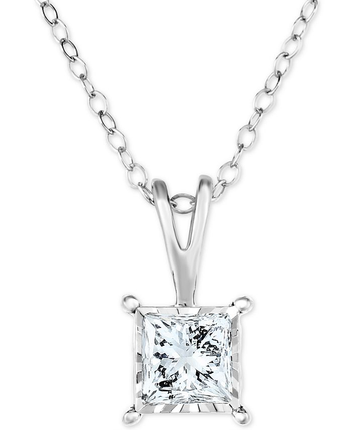 """TruMiracle - Diamond Princess Solitaire 18"""" Pendant Necklace (1/2 ct. t.w.) in 14k White, Yellow, or Rose Gold"""