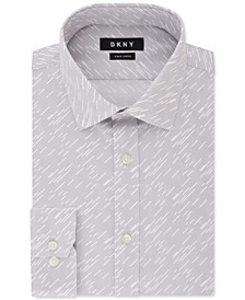 Men's Slim-Fit Grey Mist Print Dress Shirt