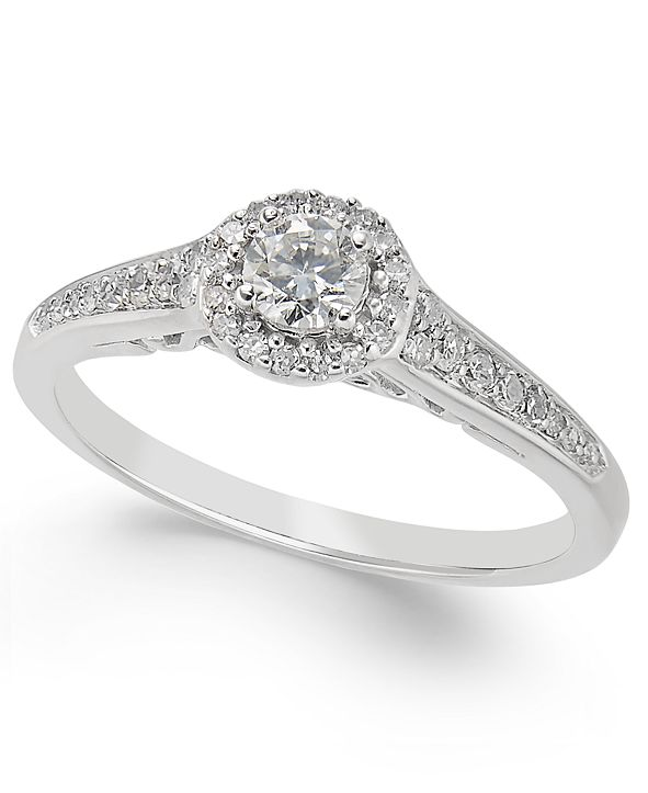Macy's Diamond Halo Engagement Ring (3/8 ct. t.w.) in 14k White Gold