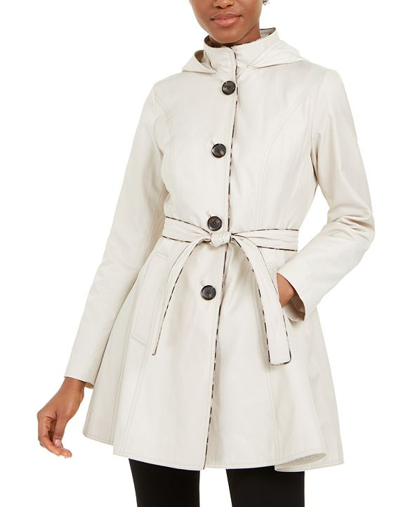 Laundry by Shelli Segal Belted Hooded Raincoat