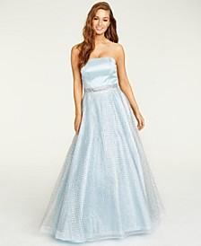 Juniors' Glitter-Overlay Gown