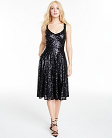 Juniors' V-Neck Sequined Dress