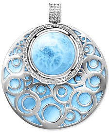 Larimar & White Sapphire (5/8 ct. t.w.) Filigree Pendant Necklace in Sterling Silver