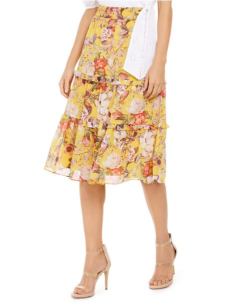 INC International Concepts INC Tiered Floral Midi Skirt, Created for Macy's