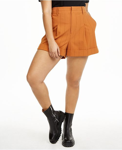 Danielle Bernstein Plus Size Pinstriped Shorts, Created for Macy's
