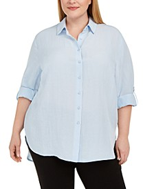 Plus Size Roll-Sleeve Tunic