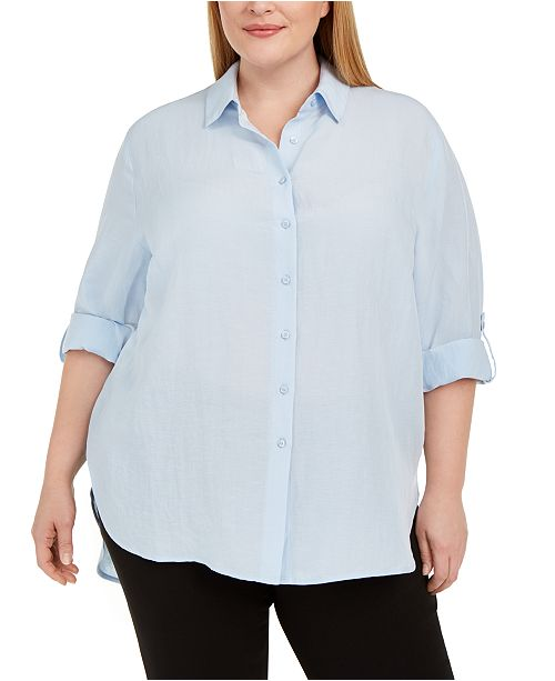Calvin Klein Plus Size Roll-Sleeve Tunic