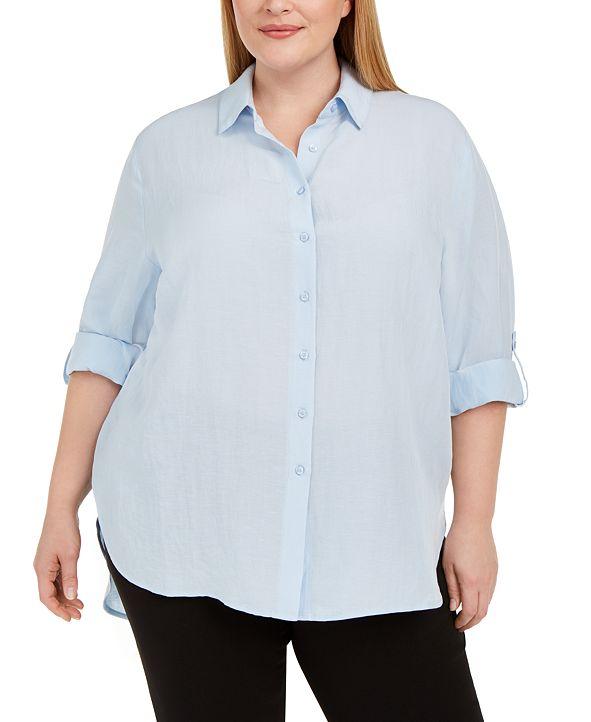 Calvin Klein Plus Size Roll-Sleeve Tunic