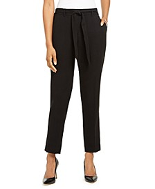 Slim-Straight Belted Dress Pants