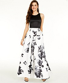 Juniors' Sleeveless Colorblocked Floral-Print Gown