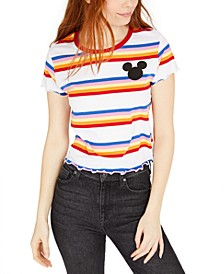 Juniors' Striped Mickey Mouse T-Shirt