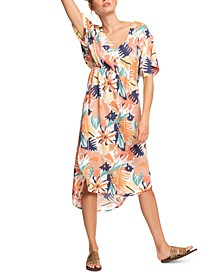 Juniors' Flamingo Shades Printed High-Low Dress