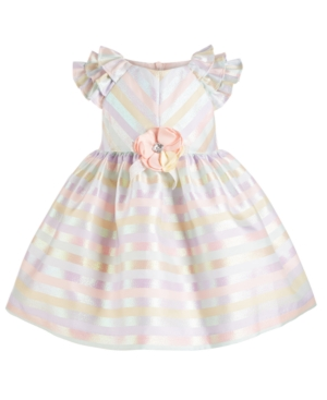 Bonnie Baby Baby Girls Pastel Striped Dress