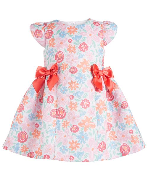 Bonnie Baby Baby Girls Floral & Bow Dress