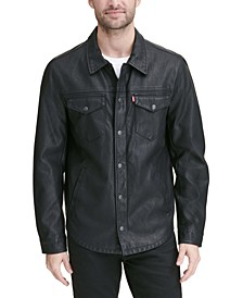Men's Classic Faux-Leather Shirt Jacket
