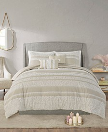 Jillian 5 Piece Full/Queen Cotton Clipped Jacquard Comforter Set