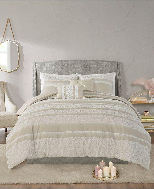 Madison Park Jillian 5 Piece Full/Queen Cotton Clipped Jacquard Comforter Set