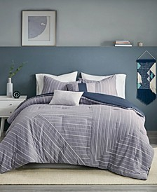Bergen Stripe 5-Piece Full/Queen Comforter Set