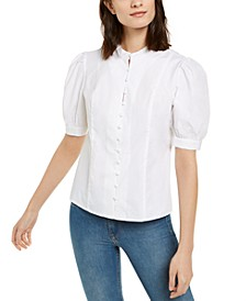 INC Solid Puff-Sleeve Top, Created for Macy's