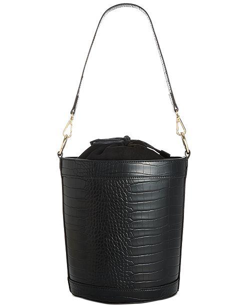 INC International Concepts INC Ajae Croco-Embossed Bucket Bag, Created For Macy's