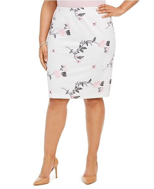 Kasper Plus Size Embroidered Floral Skirt