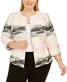 Plus Size Ombré Jacquard Jacket