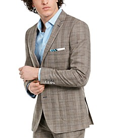 Men's Dover Slim-Fit Tan & Blue Plaid Blazer