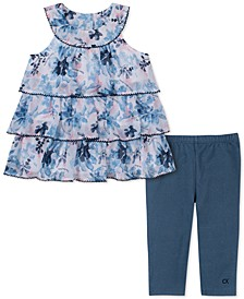 Little Girls 2-Pc. Tiered Floral Tunic & Leggings Set