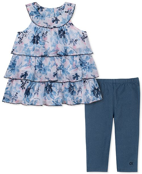 Calvin Klein Little Girls 2-Pc. Tiered Floral Tunic & Leggings Set