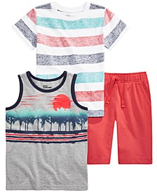Little Boys 3-Pc. Stripe T-Shirt, Tank & Knit Shorts Set Created For Macy's