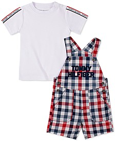 Baby Boys 2-Pc. T-Shirt & Gingham Shortalls Set