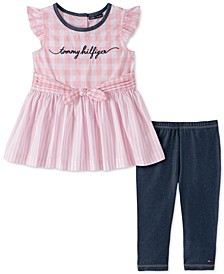 Baby Girls 2-Pc. Gingham Striped Tunic & Denim Leggings Set