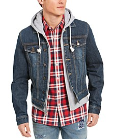 Men's Reeves Trucker Hooded Denim Jacket, Created for Macy's