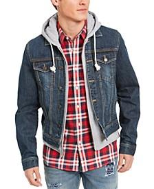 Men's Reeves Trucker Hooded Denim Jacket, Created for Macy's