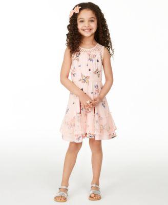 Little Girls Butterfly-Print Challis Dress, Created for Macy's