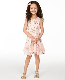 Little Girls Butterfly-Print Challis Dress, Created For Macy's