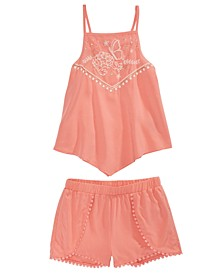 Toddler Girls 2-Pc. Embroidered Tank Top & Shorts Set, Created for Macy's